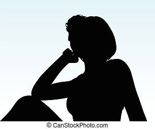 woman silhouette with hand gesture thinking - Vector Image -...