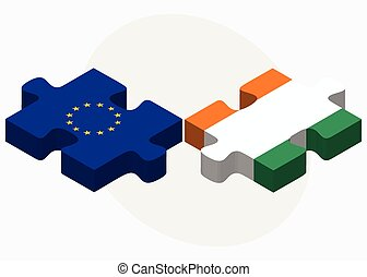 European Union and Cote Divoire Flags in puzzle isolated on...