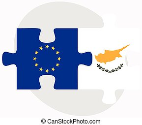 European Union and Republic of Cyprus Flags in puzzle...