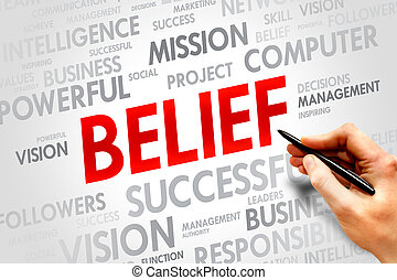 BELIEF word cloud, business concept