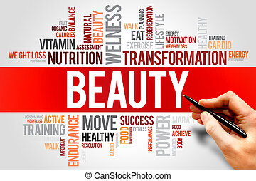 BEAUTY word cloud, fitness, sport, health concept