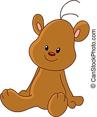 Vectors Illustration of Teddy bear sitting - Basic brown ...
