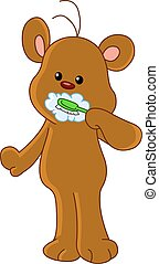 Teddy bear brushing teeth
