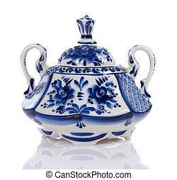 sugar bowl - blue floral patterned sugar bowl on white...