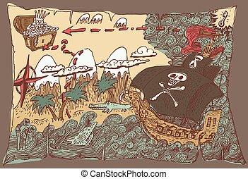 Island Treasure Map, Engaved Illustration