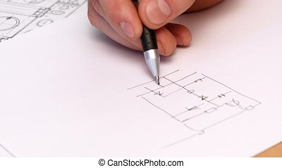 Persons Hand Drawing Plan On Blue Print TimeLapse