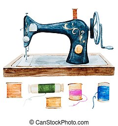 Vintage retro watercolor sewing machine - Beautiful image...