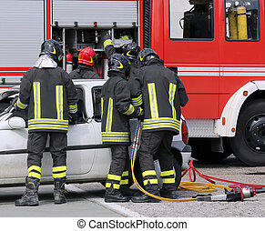 firefighters during a practice session in the fire station -...