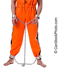 Prison concept Image of lawbreaker handcuffed, isolated on...