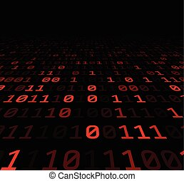 Binary background with red digits. - Binary perspective...