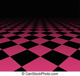 Perspective checkered surface - Perspective dark grid...