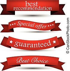 Set of red ribbons - Set of red banners and ribbons Vector...