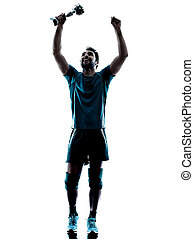 man  winning holding trophy cup silhouette