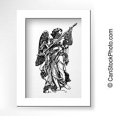 sketch digital drawing of marble statue angels - original...