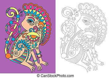 coloring book page for adults with unusual fantastic...