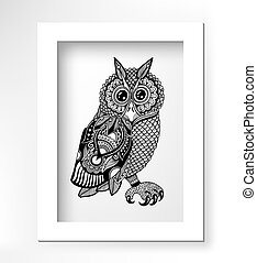original artwork of owl, ink hand drawing in ethnic style,...
