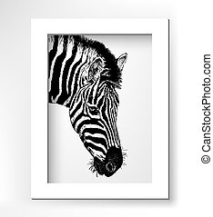 artwork head profile zebra, digital sketch of animal,...