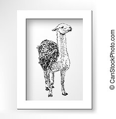 artwork lama, digital sketch of animal, realistic black...