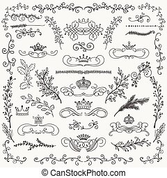 Vector Black Hand Drawn Floral Design Elements, Crowns -...