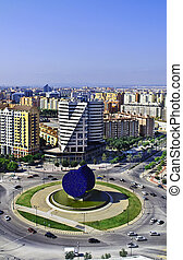Roundabout in Valencia Spain with modern architecture