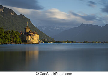Chillon Castle in Switzerland during the sunset. May, 2015