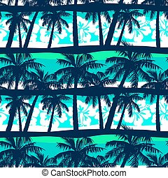 Tropical frangipani with palms seamless pattern