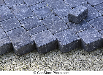 cobble - picture of recently installed cobbles on a driveway
