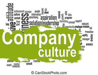 Company culture word cloud with green banner - Company...