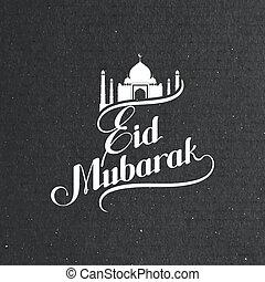 handwritten Eid Mubarak retro label - vector typographic...