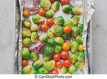 Roasted oven baked veggie goodness - Closeup portrait of...