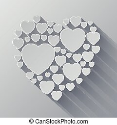 Grey and white paper heart shape on gray background with...