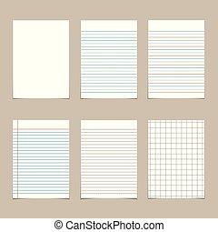 set of  vintage line paper sheets