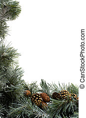 Garland Border - A green garland with pine cones border...