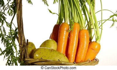 carrots and potatoes on a white background