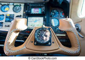 leather steering throttle wheel of propeller aeroplane