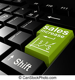 Sales increase word on the green enter keyboard image with...
