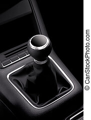 shift knob - black car stick of expensive car without speeds...