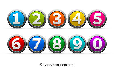 Icons numbers set - Color icons numbers set isolated on...