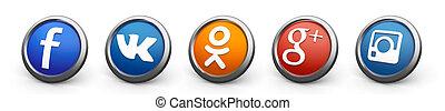 3d social icons - Social icons - facebook, vkontakte,...