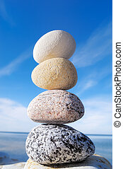 Progression - Mass of the pebble one on another, against the...