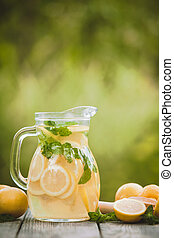 Lemonade in the jug - Preparation of the lemonade drink....