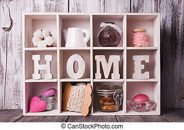 Shadowbox home - Shadow box with wooden letters home and...