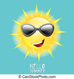 Hello Summer vector summer smiling sun in blue sky