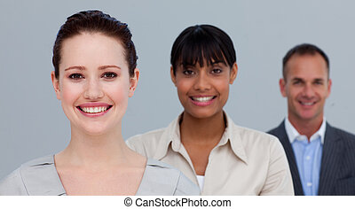 Portrait of smiling multi-ethnic business people in a line