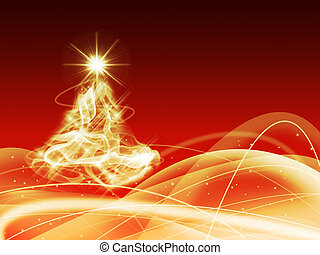 abstract christmas gold three on red background