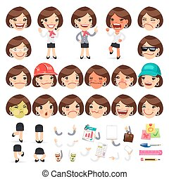 Set of Cartoon Female Manager Character