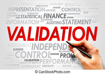 VALIDATION word cloud, business concept