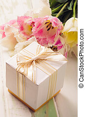 Mother day - Box with present and tulips for mom
