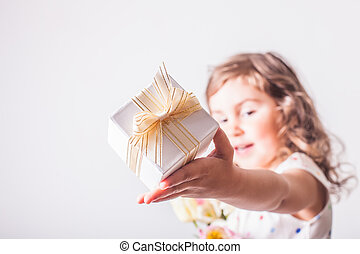 Mother day - Little girl with tulips and box with present...
