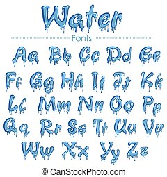 English font in water texture